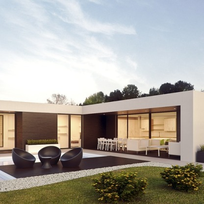 Contemporary house with swimming pool (3D render)